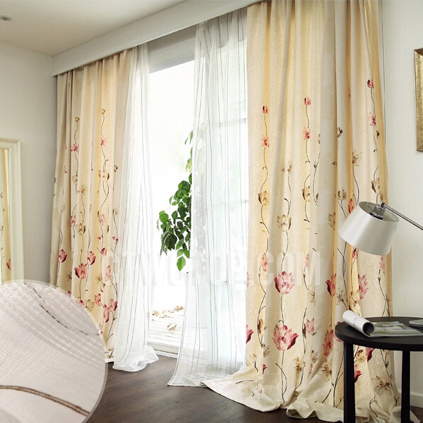 Floral cheap curtains online 2016 for Where can i buy curtains online