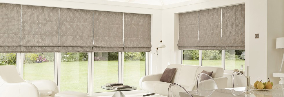 Cream Grey Roman Blinds