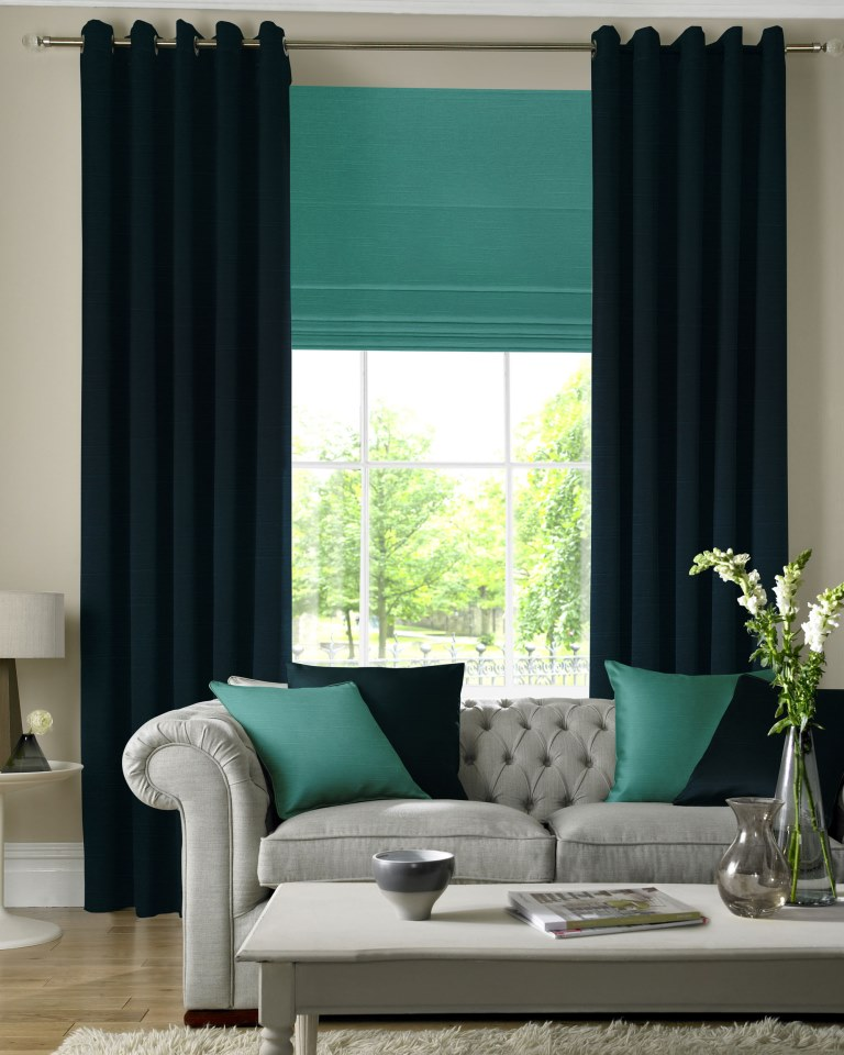 Dark Green Blinds And Curtains
