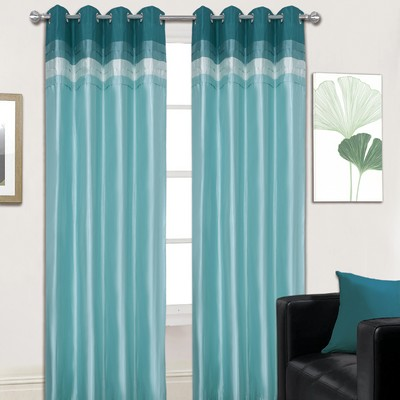 Hannah Eyelet Teal Curtains