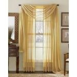 1 X MONAGIFTS 2 PANELS GOLD Sheer Voile Window Panel curtains 59″ WIDTH X 84″ LENGTH EACH PANEL