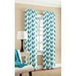 Mainstays Chevron Polyester/Cotton Curtain Panels, Set of 2, 56″ x 84″, Teal