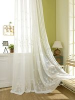 YouYee Semi-shade Linen Elegant Embroidery Solid White Sheer Window Curtains/Drapes/Panels/Treatments ,Set of 2(54×84)