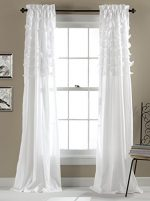 Lush Decor Avery Window Curtains, 84 by 54-Inch, White, Set of 2