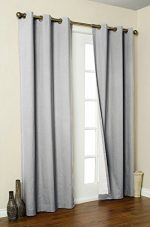 Awad Home Fashion 2 Piece Solid FAUX SILK BLACKOUT Grommet Window Panel Curtain Drapes with Foam Backing – 37″W X 63″L, Gray