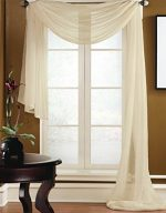 Gorgeous Home 1 PC SOLID BEIGE SCARF VALANCE SOFT SHEER VOILE WINDOW PANEL CURTAIN 216″ LONG TOPPER SWAG