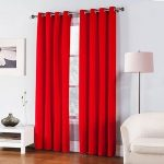 Awad Home Fashion 2 Piece Solid THERMAL BLACKOUT Grommet Window Panel Curtain Drapes 55″W x 63″L, Red