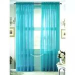 LuxuryDiscounts 2 Piece Solid Elegant Sheer Curtains Fully Stitched Panels Window Treatment Drape (54″ X 63″, Turquoise)