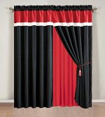 4 Piece Burgundy Red / Black / White Color Block Curtain set with attached valance 120″X84″