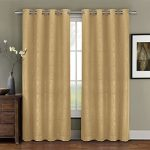 Deluxe Energy Efficient & Room Darkening. One Top Grommet Blackout Weave Embossed Curtain Panel, Triple-Pass Foam Back Layer, Elegant and Contemporary Prairie Blackout Panel, Gold, 63″ Panel