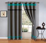 Modern 4 – Piece Teal Blue / Grey / Black Grommet curtain set Drapes / Window Panels 120″ Wide X 84″ Tall
