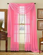 Qutain Linen Solid Viole Sheer Curtain Window Panel Drapes Set of Two (2) (55″ x 84 inch, Hot Pink)