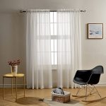 Mysky Home Rod Pocket Solid White Striped Voile Sheer Curtains for living Room and Bedroom, 54 Inch x 84 Inch long