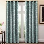 H.Versailtex Traditional Aqua Floral Country Style Pattern Thermal Insulated Blackout Curtains for Living Room,Grommet Window Treatment Drapes,Set of 1 Panel, W52 x L84 Inch