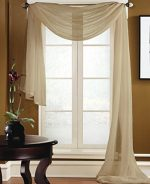 Gorgeous Home 1 Peace Scarf Valance Soft Sheer Voile Window Panel Curtain, Taupe