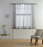 Mysky Home Faux Linen Back Tab and Rod Pocket White Melange Window and Door Sheer Curtains for Living Room and Bedroom, 54 x 63 inch, Grey (1 Panel)