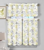 3 Piece Semi Sheer Window Curtain Set: Floral Vine Deisgn, 2 Tiers, 1 Valance (Yellow)