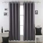 Deconovo Thermal Insulated Blackout Curtains Lined Polar Fleece For Bedroom 52×84-1 Pair,Dark Grey