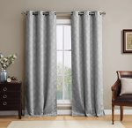 HLC.ME Lattice Thermal Blackout Grommet Top Window Curtain Panels – Pair – 38″ X 84″(each panel) inch Long (Light Grey)