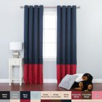 Best Home Fashion Colorblock Thermal Insulated Blackout Curtains – Antique Bronze Grommet Top – Navy/ Cardinal Red – 52″W x 84″L – (Set of 2 Panels)