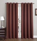 Blackout Curtains Window Panel Drapes for bedroom / living room – 2 Panel Set, 52 by 84 inch each panel, 8 grommets per Panel, 2 Tie Back Included, color Chocolate – Window Rose