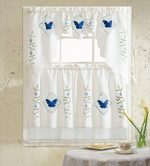 B&H Home Blue Butterfly Embroidered 3-Piece Kitchen Curtain Window Treatment Set