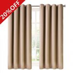 MEROUS Window Treatment Thermal Insulated Solid Grommet Blackout Curtains / Drapes for Bedroom (Set of 2 Panels,5263inch,Camel)