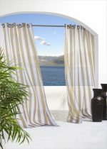 Commonwealth Home Fashions 70503-109-758-84 Escape Sheer Stripe Grommet Outdoor Top Curtain Panel 84 in., Khaki