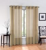 Ruthy's Textile 2 Piece Window Sheer Curtains Grommet Panels 54″ X 84″ Total 108″ X 84″ – Tan