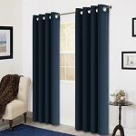 Room Darkening Soild Color Grommet Window Curtain For Living Room 3 Dimensions(52 by 63inch, Navy blue)