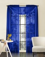 LuxuryDiscounts Beautiful Elegant Solid Royal Blue Sheer Scarf Valance Topper 38″ X 216″ Long Window Treatment Scarves