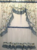 Dreams Floral and Gingham Scoop Insert Valance Blue