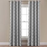 FlamingoP Room Darkening Moroccan Tile Quatrefoil Blackout Top Grommet Unlined Thermal Insulated Window Curtains, Set of Two Panels, each 63 by 52, Gray