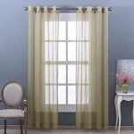 Nicetown Home Decoration Solid Crushed Sheer Window Curtain / Drapery Grommet Voile Panels (2 Pieces, 52 wide x 95-inch length, Sage)