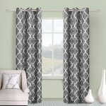 LuxuryDiscounts 2 Piece Geometric Trellis Design Window Treatment Microfiber Grommet Top Curtians, WCS-11 (45″ x 84″, Gray)