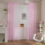 haoun 2Pcs Butterfly Flocking Voile Tulle Sheer Curtain Window Panel Drape 39.4×78.8″ – Pink
