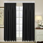 Homdox Thermal Insulated Blackout Window Curtains for Living Room Bedroom – 52 x 84 Inch Each Panel, Black (2 Panels)
