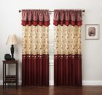 Fancy Collection Embroidery Curtain Set 2 Panel Drapes with Backing & Valance Burgundy