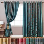 Best Home Fashion Wide Width Damask Jacquard Curtain – Antique Bronze Grommet Top – Teal – 90″W x 84″L – (1 Panel)