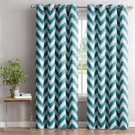 HLC.ME Chevron Print Thermal Insulated Blackout Window Curtain Panels, Pair, Chrome Grommet Top, Teal Blue
