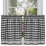 Achim Home Furnishings Buffalo Check Kitchen Curtain Tier, Black/White, 58 x 24-Inch, Set of 2