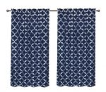 Pack 2 CaliTime Window Curtains Panels 55 X 84 Inches, Quatrefoil Accent Geometric, Navy Blue