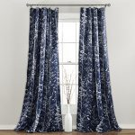 Lush Decor Forest Window Curtain Panel (Set of 2), 84 x 52″, Navy