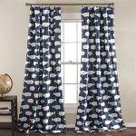 Lush Decor Whale Window Curtain Panel Set, 84″ x 52″, Navy