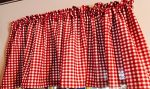 New Red and White Gingham 52″wide x 15″long Window Curtain Valance made from Country Kitchen fabric