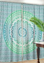 Large Ombre Mandala Window Curtain Indian Drape Handmade Curtain Panel