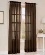 Gorgeous Home *DIFFERENT COLORS* 2 PANELS 55″ WIDE X 84″ (FOR EACH PANEL) SOILD WINDOW ROD POCKET SHEER PANELS SEE THROUGH CURTAINS (CHOCOLATE BROWN)