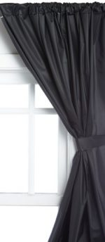 Carnation Home Fashions Vinyl Bathroom Window Curtain, Black