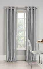Gorgeous Home 1 Faux Silk Window Curtain Panel 55″ by 84″ Inch Solid Gray Silver 8 Bronze Grommets Mira
