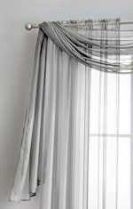 Sheer Window Scarf Fabric Sheer Voile curtain for Window Treatment – Add to Window Curtains for Enhanced Effect (56″x216″, Silver)